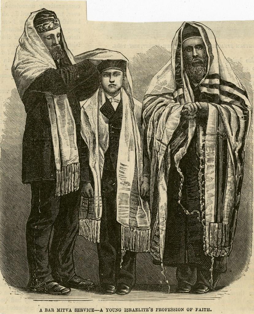 Line art illustration of traditional bar mitzvah