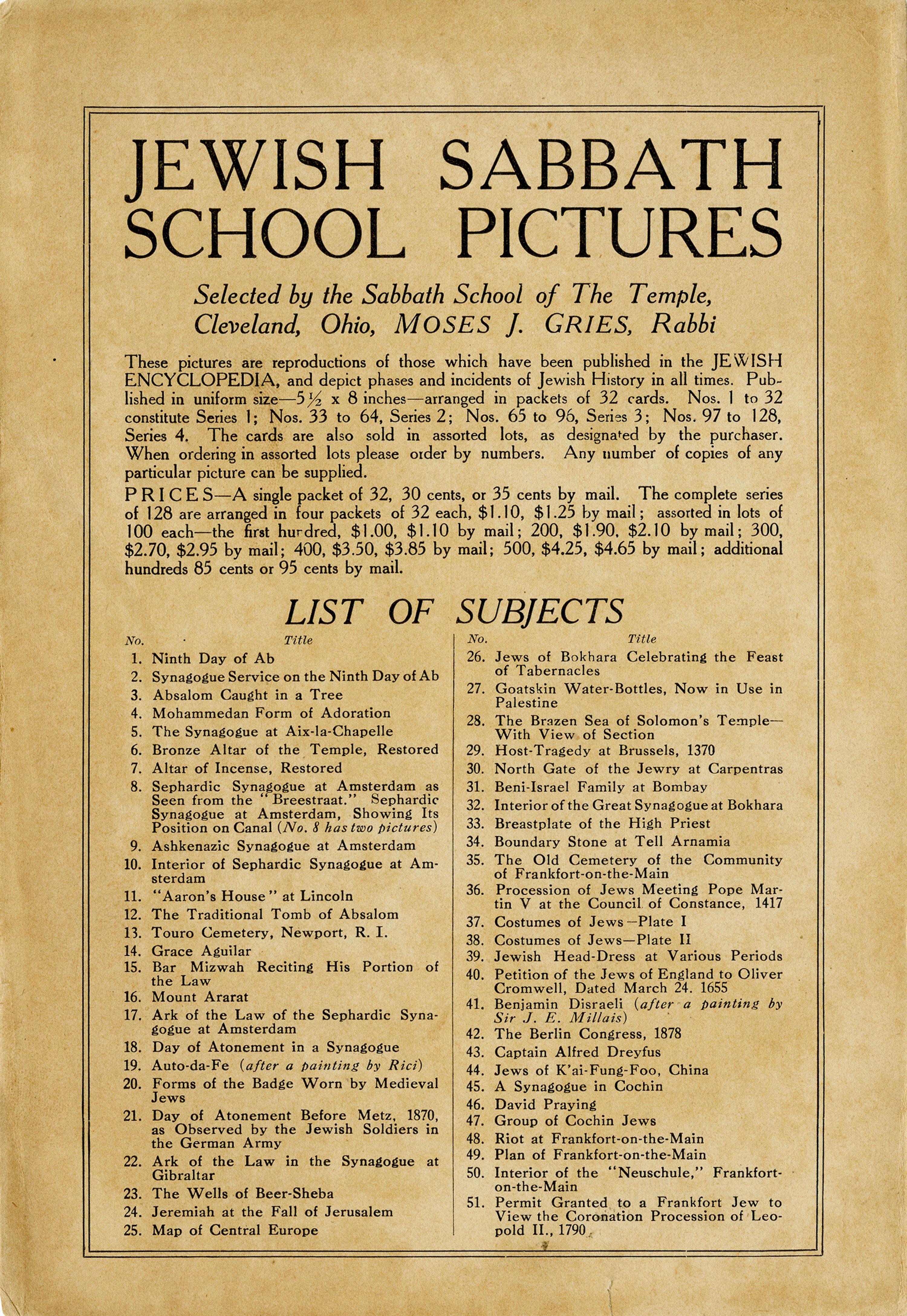 Jewish Sabbath-School Pictures, 2 of 3
