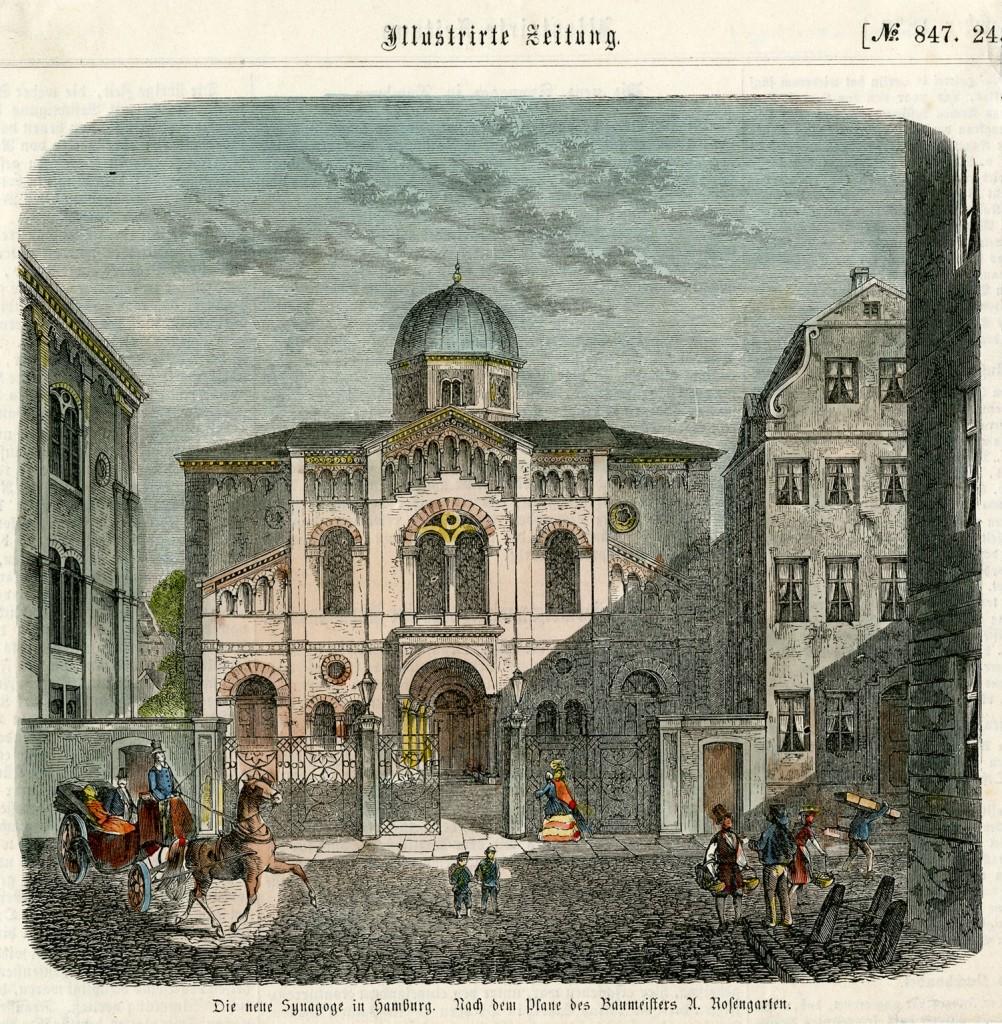 Die neue Synagoge in Hamburg. Nach dem Plane des Baumeisters A. Rosengarten.