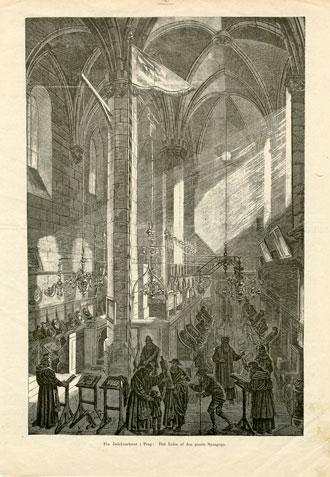 Print depicting interior of Prague's Altneuschul