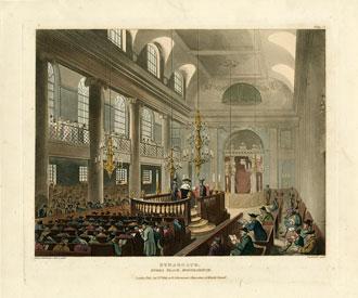 Aquatint, Great Synagogue at Dukes Place, Houndsditch, London