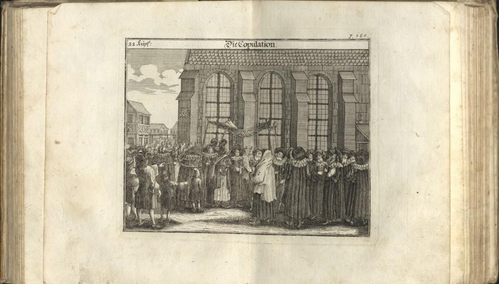 Print from Jüdisches Ceremoniel detailing the ceremonies of an 18th-century German Jewish wedding